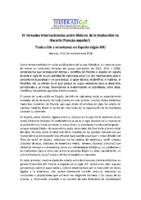 IV Jornadas Internacionales sobre Historia de la traducción no literaria (francés-español)