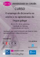 """Póster Curso de formacion RELEX """"O emprego do dicionario no ensino e na aprendizaxe da lingua galega"""""""