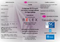 """Tríptico Curso de formacion RELEX """"O emprego do dicionario no ensino e na aprendizaxe da lingua galega"""""""