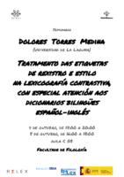 Cartel DoloresTorres Medina Tratamento das etiquetas de rexistro e estilo na lexicografía contrastiva, con especial atención aos dicionarios bilingües español-inglés